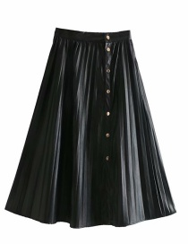Fashion Black Pleated Pu Leather Single-breasted Skirt