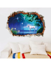 Fashion Color Horn Animal Green Wall Sticker