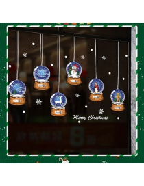 Fashion Color Christmas Crystal Ball Snowman Elk Wall Sticker