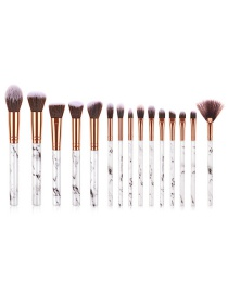 Fashion Black And White 15 Sticks With Marble Handle Brush