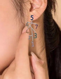 Fashion Color S925 Sterling Silver Pin Digital Asymmetric Micro Inlaid Zircon Earrings