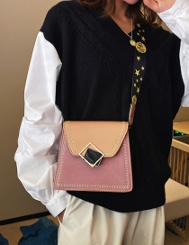 Fashion Brown Wide Shoulder Strap Embroidery Line Matte Diagonal Package