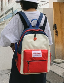 Fashion Red Contrast Stitching Labeling Backpack