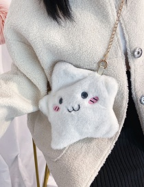 Fashion White Love Embroidery Cloud Plush Shoulder Crossbody Bag