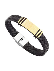 Fashion Gold Titanium Steel Leather Scripture Cross Bracelet