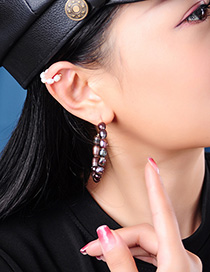 Fashion Black C-ring Ring Pearl Earrings