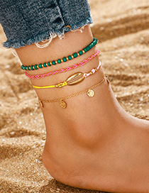 Fashion Green Rice Beads Shell Tassel Wire Anklet 4 Piece Set