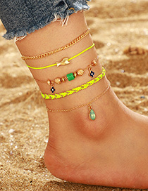 Fashion Gold Gemstone Small Fish Multi-layer Flower Drop-shaped Anklet 4 Piece Set