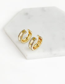 Fashion Gold Alloy Diamond Double Row Diamond Earrings