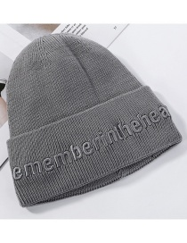 Fashion Gray Plush Knitted Wool Letter Embroidery Headgear