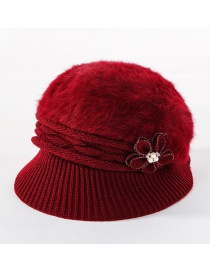 Fashion Wine Red Double-layer Plus Velvet Knitted Rabbit Hair Flower Pearl Basin Cap