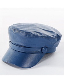Fashion Blue Washed Pu Flat Cap