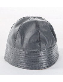 Fashion Gray Soft Leather Double-sided Woolen Cap