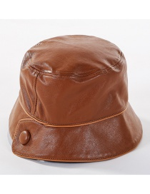 Fashion Coffee Color Buckle Pu Fisherman Hat