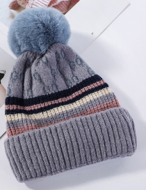 Fashion Gray-blue Needle Ball Color Matching And Cashmere Cap
