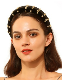 Fashion Black Alloy Corduroy Headband