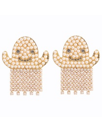 Fashion Gold Alloy Pearl Elf Stud Earrings