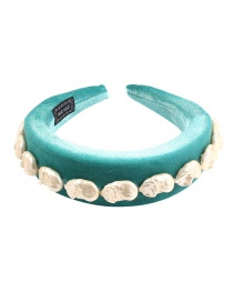 Fashion Blue-green Corduroy Imitation Pearl Headband