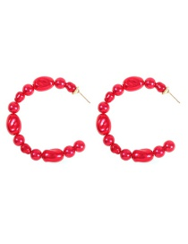 Fashion Red Alloy Pearl C-shaped Earrings
