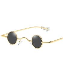 Fashion Full Black Ultra Small Frame Round Sunglasses