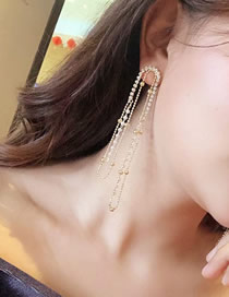 Fashion Gold Fringed Pearl Full Of Earrings