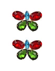 Fashion Red + Green Alloy Diamond Butterfly Stud Earrings