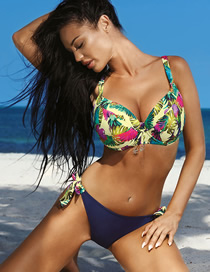 Fashion 2036-1 Beige Large Cup Printed Triangle Split Swimsuit