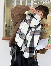 Fashion Black And White Plaid Cashmere Shawl Scarf