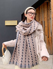 Fashion Beige Navy Blue Strip Woven Wool Striped Shawl Scarf