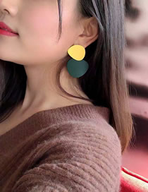 Fashion Yellow Geometric Contrast Round Frosted Earrings