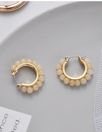 Fashion Beige Round Gradient Beads Woven Earrings