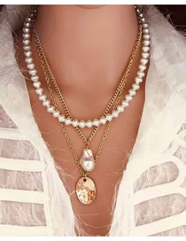 Fashion Gold Shaped Imitation Pearl Alloy Necklace