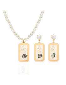 Fashion Creamy-white Imitation Pearl Earrings Necklace Set