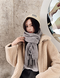 Fashion Gray Knitted Wool Scarf
