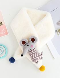 Fashion Mouse - White Children's Rabbit-like Rabbit Fur Collar