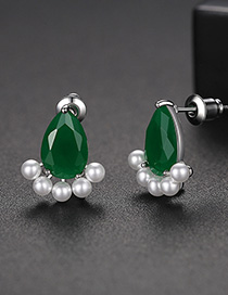 Fashion Green Small Ankle Pearl Copper Inlaid Zircon Earrings