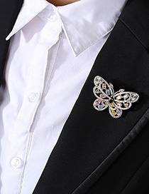 Fashion 18k Butterfly Copper Inlaid Zirconium Brooch