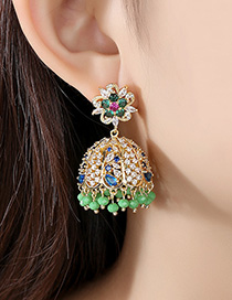 Fashion 18k Copper Inlaid Zirconium Bell Stud Earrings