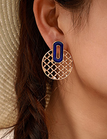 Fashion Gold Hollow Round Alloy Geometric Earrings
