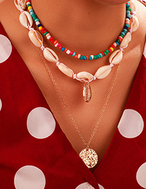 Fashion Color Rice Beads Shell Multi-layer Woven Round Conch Shell Necklace