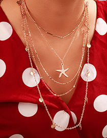 Fashion Gold Alloy Disc Starfish Star Multilayer Necklace