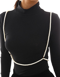 Fashion Gold Geometric Beaded Imitation Pearl Shoulder Chain