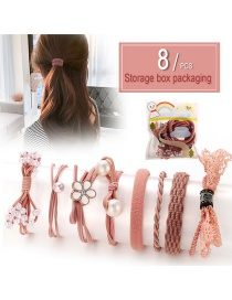 Fashion Pink Bow Hair Rope Set