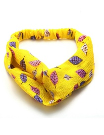 Fashion Yellow Print Cross Elasticated Chiffon Hair Band