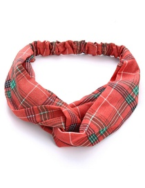 Fashion Watermelon Red Check Cross Elasticated Chiffon Hair Band