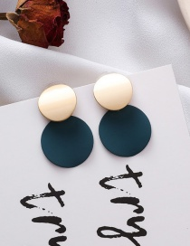 Fashion Blue 925 Silver Needle Round Disc Earrings