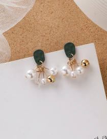 Fashion Green 925 Silver Needle Pearl Crystal Grape Earrings