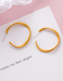 Fashion Yellow 925 Silver Needle Spray Twisted Circle Earrings