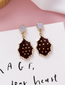 Fashion Wine Red Irregular Polka Dot Biscuit Shape Earrings