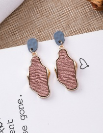 Fashion Pink 925 Silver Needle Irregular Texture Earrings
